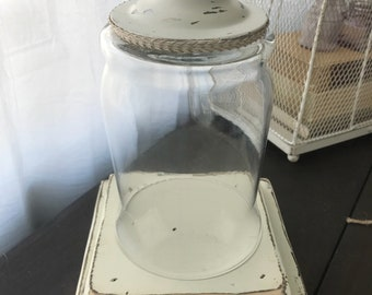 Rustic Salvaged Pedestal with Cloche