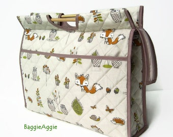 Foxes Knitting Bag, Owls Crochet Project Bag, Wildlife Cross Stitch Bag, Large Craft Bags.