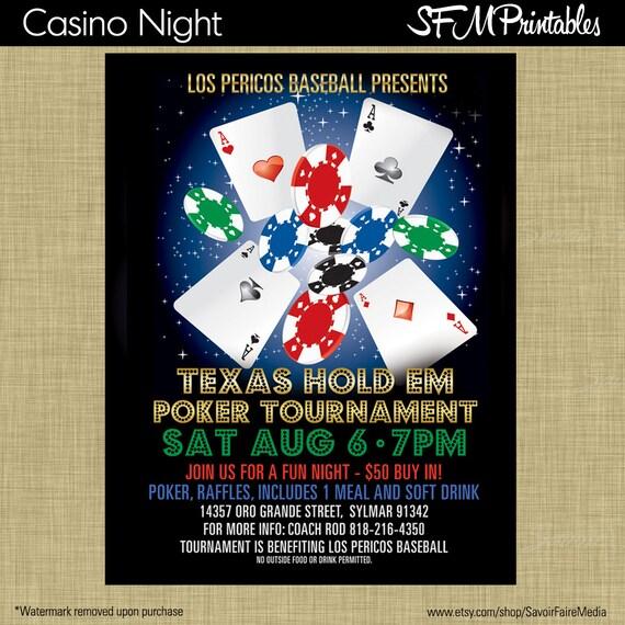 Poker Turnier Texas Hold Em Einladung Poster / Flyer-Vorlage