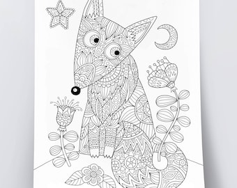 Adult coloring page: Foxy fox. Doodle art, DIY coloring poster, printable pdf, instant download