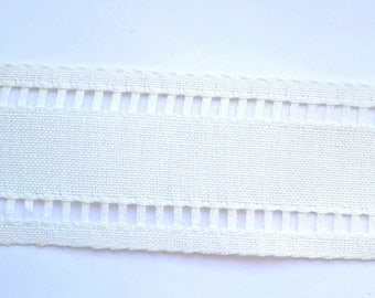 Fabric white linen, rubbon with ladder stitch, linen for embroidery