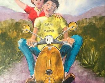 Original acrylic painting entitled 'Ban the Bomb'
