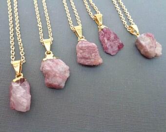 Raw Pink Tourmaline Necklace/Genuine Pink Tourmaline in Matrix/Rough Tourmaline Nugget Gold Necklace/Natural Pink Tourmaline Pendant-GR14