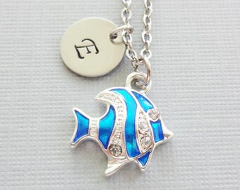 Blue Fish Necklace, Striped Fish, Enamel Rhinestone, Nautical, Sea, Ocean, Silver Jewelry, Personalized Monogram,Hand Stamped Letter Initial