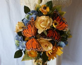 Monarch Butterfly Silk Wedding Bouquet