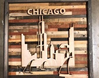 Rustic Chicago skyline wall art