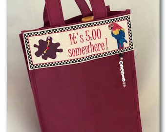 It's 5:00 Somewhere! - Sacafun Two Bottle Wine Tote