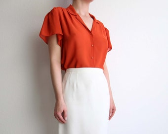 VINTAGE Blouse Orange Chiffon 1970s Sheer Top Flutter Sleeves Large
