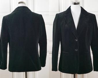 Black Velvet Blazer, German Vintage Women's Velvet Jacket: Size 8 US, Size 12 UK