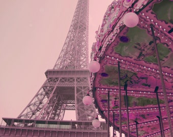 Pink Eiffel Tower Carousel, Pink Paris Photo, Paris Art, pink Eiffel Tower Photo, pink Paris Decor, Architecture Photo, pink carousel photo