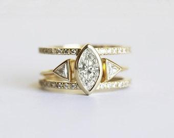 Diamond Engagement Ring Set, Trillion Horseshoe, Marquise Diamond Set, Ruby Diamond Ring Set, Wedding Diamond Set, Marquise Diamond Ring Set