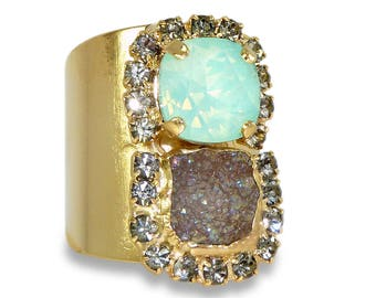 Druzy Statement Ring, Mint & Grey Ring, 24K Gold Wide Band Ring,  Crystal Ring, Druzy Mineral Ring, Unique Design By Inbal mishan.