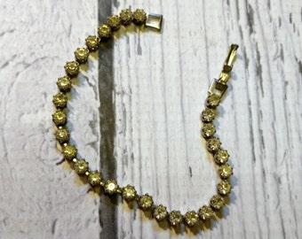 Vintage Rhinestone Bracelet - Sparkling Rhinestone Strand Bracelet - Narrow Rhinestone Bracelet - Minimalist Rhinestones