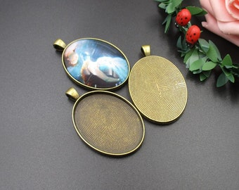 5pcs 30×40mm Oval Cameo Cabochon Base Setting Pendants,Blank Findings Trays,Antique Bronze Tone-b2016-A