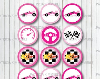 Printable Cupcake Toppers, Race car, Racer, Racing Club,Car Race, Motorsports, Race Car Driver, Birthday, Decorations, DIY, INSTANT DOWNLOAD