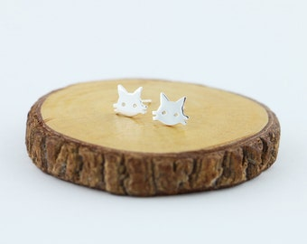 Cat  Earrings - Cat stud - handmade in sterling silver