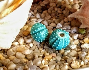 1 chunky matte turquoise blue Sea Urchin Beads handmade from porcelain Choose Quantity 3/4""
