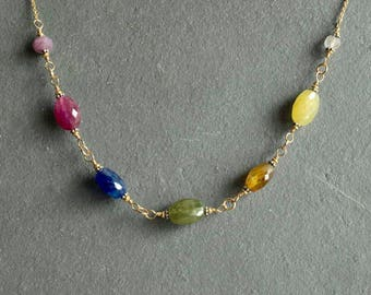 Large Sapphire Necklace, September birthstone, big oval natural multi color sapphires, rainbow sapphires, gold chain, real sapphire jewels