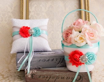 Aqua and Coral Flower Girl Basket, Wedding Ring Bearer Pillow, Wedding Ring Pillow, Wedding Pillow, Flower Girl Basket, Ring Pillow