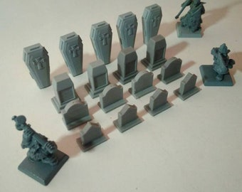 Warhammer fantasy cemetery scenery. Tombs & coffins.Pack.  Kow. 28mm. Graveyard.  3d print