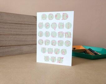 Flamingo Alphabet greetings card
