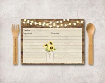 Sunflower Recipe Card Printable, Rustic Recipe Cards, Mason Jar Bridal Shower Recipe Card, Mason Jar recipe Cards, Printable Recipe Card