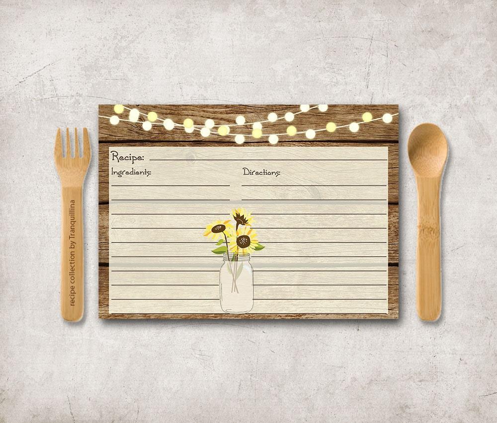 Sunflower Recipe Card Printable Rustic Recipe Cards Mason