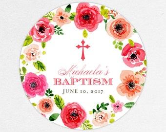 Baptism Favor Tag, Baptism Favor Label, Christening Favor Tag, Christening Favor Label, Cross, Floral, Floral Baptism, Watercolor, Michaela