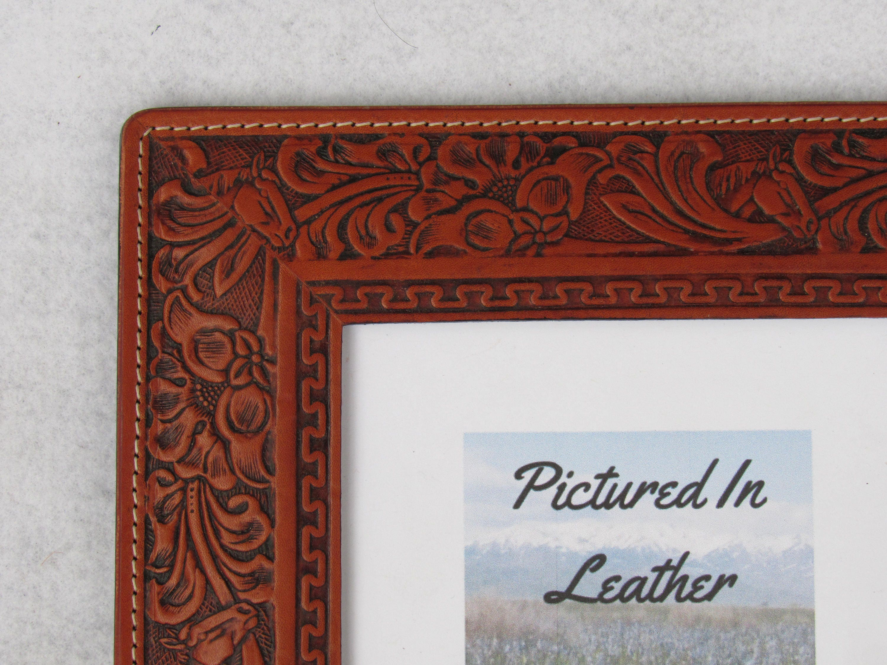 Western picture frame, rustic leather picture frame, 5x7, horse ...