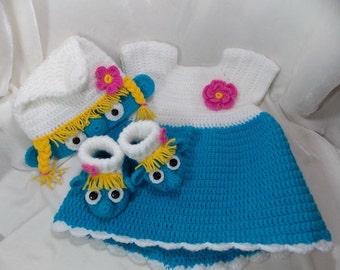 Baby girl set Smurfs,dress Smurf,socks Smurf,baby girls'clothing,Photo shoot,newborne Smurf,hat Smurf,costume Smurf,