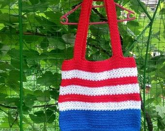 4th of july outfit  American flag bag crochet patriotic shoulder bag for summer celebration