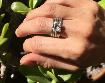 Handmade 925 sterling silver flower stacking rings, stacking rings, stackable rings, sterling silver stacking rings, flower rings, flower po
