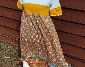 Dress, Size 14-16 girls One of a kind Mustard/ mint green /browns/ turquoise,