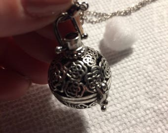 Rose Energy Silver Locket Lava Stone Diffuser Necklace - Aromatherapy Necklace, Essential Oil Diffuser Necklace, Gift for Friend