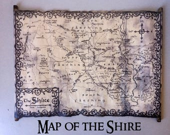 Map of the Shire Scroll, Lord Of The Rings Shire Map, The Hobbit Shire Map, Tolkien Map of Shire, Part of Middle Earth