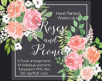 Watercolour Flower Clip Art - Watercolor Roses and Peonies, Digital Clipart flowers, Floral border, Floral clipart, Watercolor Flowers png