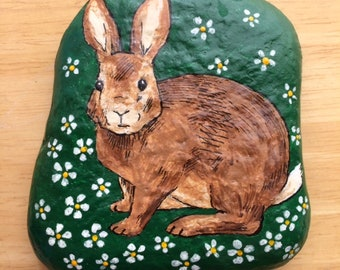Rabbit and flowers painted rock