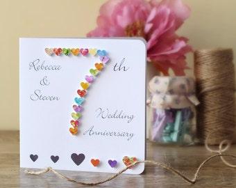 Handmade 3D 7th Wedding Anniversary Card, Personalised Seventh Anniversary Card, Husband Wife Card 7 Wedding Anniversary BHAN07 UK Seller