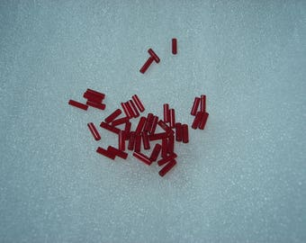 set of Red tube beads