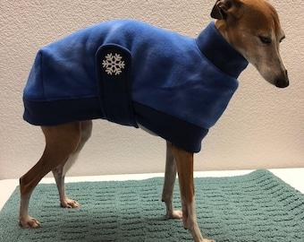 Cozy Fitted Fleece Snuggler Dog Coat Designed for Italian Greyhounds - Size Medium