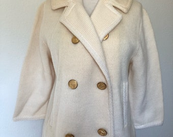 Vintage cream sweater 1950s 1960s, Stephen Meadows, double breasted knit jacket coat, gold buttons large, mod 60s coat cardigan, retro 50s