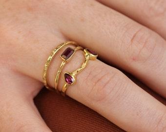Medina Stacking Ring   18K Gold Vermeil Rhodolite (Pink Garnet) Stacking Ring