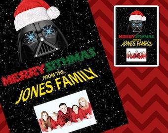 Christmas Photo Card - Custom - Star Wars - Darth Vader - Merry Sithmas - DOWNLOAD PRINTABLE Photo Card