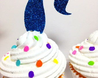 Mermaid Cupcake Toppers Mermaid Tail Cupcake Toppers Glitter