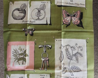 1950s Vintage Martex Dry-Me-Dry Tea Towel, MWT, Nature Theme, Olive Green, Pink, Black, White, Butterflies and Botanicals