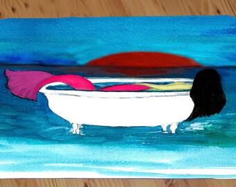 Brunette Bathtub Mermaid art comfort foam floor mat from art. Available in 3 sizes