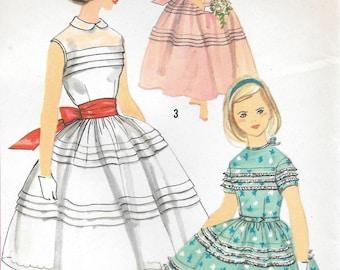 Sz 8 or Sz 10-FACTORY FOLDED 1958 Girls' Dress Simplicity 2353 Breast 26 or 28