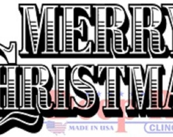 Deep Red Rubber Stamp Merry Christmas Wood Cut Words Writing Holiday Quote