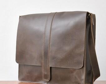 Leather laptop bag Large size  bag satchel bag leather bag shoulder bag over shoulder leather bag dark brown