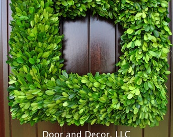 Square Preserved Boxwood Wreath~Square Wreath~Christmas wreath~Thanksgiving wreath~Year around wreath~greenery wreath